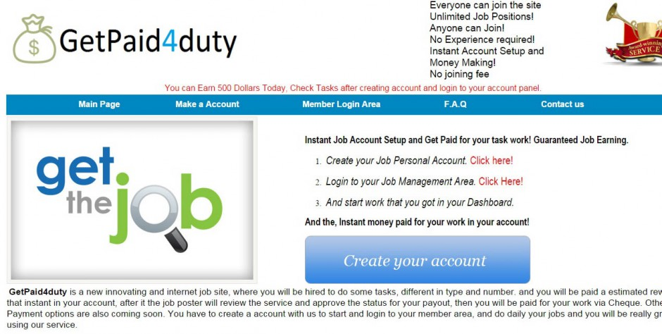 what is GETPAID4DUTY on getob4living.com