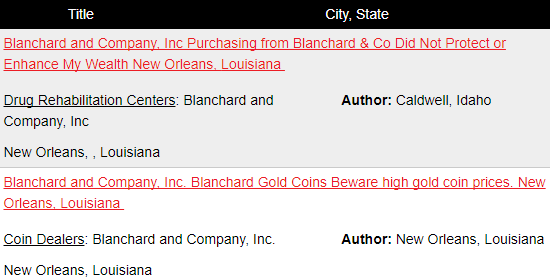 is blanchard and company a scam